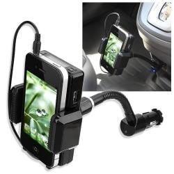 INSTEN FM Transmitter with 3.5mm Audio Cable Mic for Apple iPhone 4S/ 5S/ 6