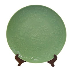 Green Garden Porcelain Plate with Stand