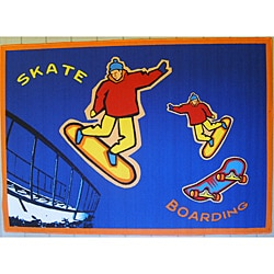 Skateboarding Orange Border Rug (5' x 8')