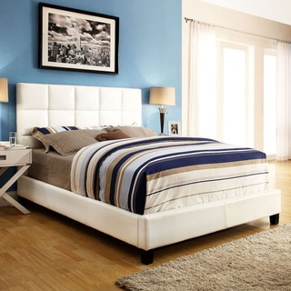 ETHAN HOME Sarajevo White Vinyl Column Full-size Platform Bed