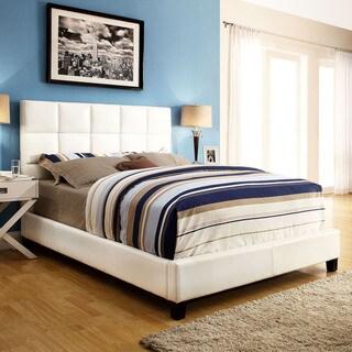 ETHAN HOME Sarajevo White Vinyl Column Queen-size Platform Bed