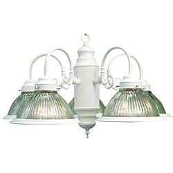 Woodbridge Lighting Basic 5-light White Prism Glass Chandelier 8326914
