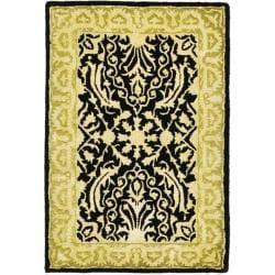 Safavieh Handmade Silk Road Majestic Black/ Ivory N. Z. Wool Rug (2' x 3')