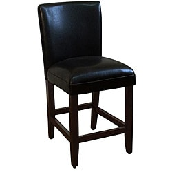 24-inch Luxury Black Faux Leather Barstool