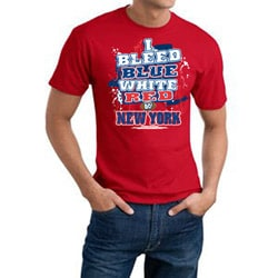 New York 'I Bleed Blue, White & Red' Cotton Tee