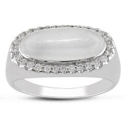 Miadora 14k White Gold 1/5ct TDW Diamond and Moonstone Ring (G-H, I1)
