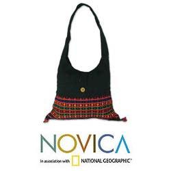 Handmade Cotton 'Vibrant Tease' Shoulder Bag (India) 8338713