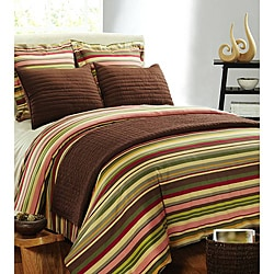 Lucas Stripe Cotton Satin 3-piece Duvet Cover Set