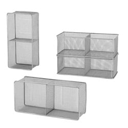 Lightweight Silver Mesh Horizontal/Vertical Divided DVD Holder