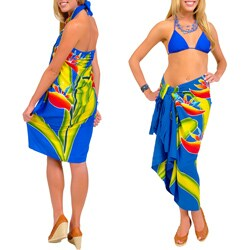 Blue Hand-painted Birds Of Paradise Sarong (Indonesia)