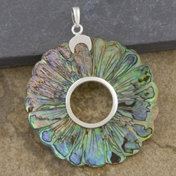 Silver-Plated Abalone Shell Large Round Pendant (Indonesia)
