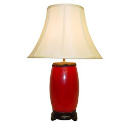 Red Barrel Drum Wood Table Lamp