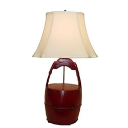 Red Wooden Bucket with Handle Table Lamp