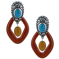 Southwest Moon Sterling Silver Turquoise, and Agate Earrings 8355327