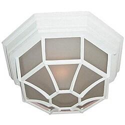 Woodbridge Lighting Basic 1-Light 60-Watt Powder- Coated White Outdoor Flush Mount