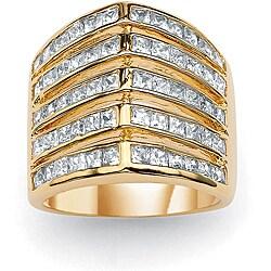 PalmBeach CZ Goldtone Clear Cubic Zirconia Ring Glam CZ