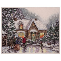 Thomas Kinkade Skater's Pond Counted Cross Stitch Kit