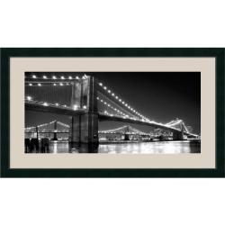 Phil Maier 'Brooklyn Bridge and Manhattan Bridge at Night' Framed Art Print