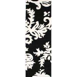 nuLOOM Handmade Pino Peonies Black Runner (2'6 x 8')