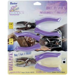 Darice Circle Hole Punches with Purple Plastic Handles (Pack of Three) 8372316