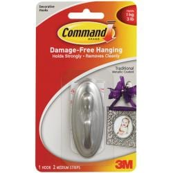 Command Traditional Brushed Nickel Medium Hook with Adhesive