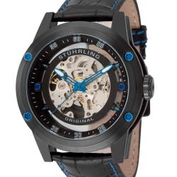 Stuhrling Original Black Men's Zolara 360 Automatic Skeleton Watch
