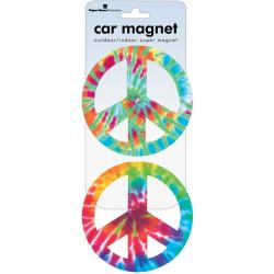 Peace Signs Tie Dye Car Magnet