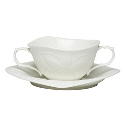 Red Vanilla Clematis White Porcelain Soup Cup and Saucer Set of 2 8373278