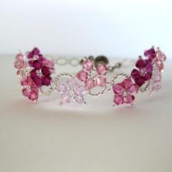 Stainless Steel Delicate Pink Flower Bracelet