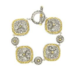 Mondevio Gold Overlay Square Filigree Toggle Bracelet