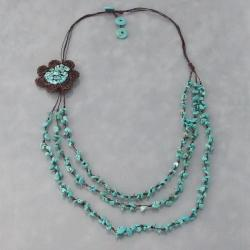 Reconstructed Turquoise Crochet Flower Bib Necklace (Thailand)