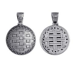 Sterling Silver Round Basket-Weave Pendant (Indonesia)