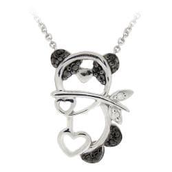 DB Designs Sterling Silver Black Diamond Accent Panda Bear Heart Necklace