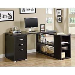 Cappuccino Hollow-core L-shaped Computer Desk
