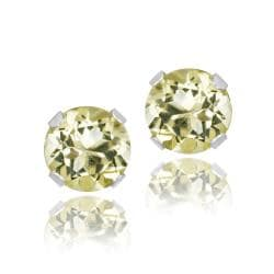 Glitzy Rocks 14k White Gold 4/5ct TGW 5mm Created Lime Quartz Stud Earrings