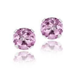 Glitzy Rocks Sterling Silver 1 1/6ct TGW 5mm Pink Topaz Stud Earrings 8410033