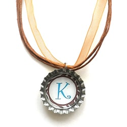 Brown and Blue Monogram Bottle Cap Necklace