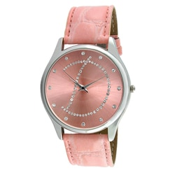 Viva Women's Crystal Initial 'D' Pink Watch