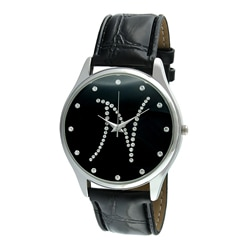 Viva Women's Crystal Initial 'N' Black Watch