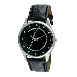 Viva Women's Crystal Initial 'D' Black Watch