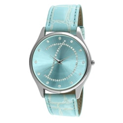 Viva Women's Crystal Initial 'D' Blue Watch