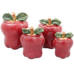 Casa Cortes Red Apple Deluxe Piece Canister Set