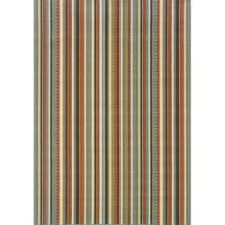 Blue/ Multi Striped Outdoor Area Rug (3'7 x 5'6) (As Is Item)