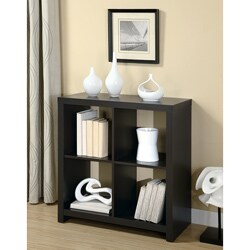 Cappuccino-Finish Wood Square Room-Divider Bookcase