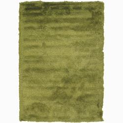 Handwoven Lime-Green Mandara Shag Rug (7'9 Round)