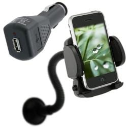 INSTEN Car Charger and Windshield Holder Mount for Apple iPhone 3G/ 3GS/ 4