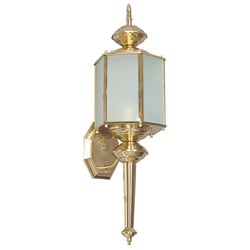 Single-light Polished Brass Wall Lantern with Optional Tail