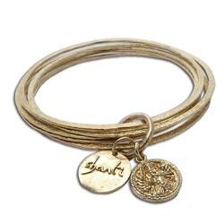 Recylced Brass Ganesh, Om and Shanti Bangle Bracelet (Indonesia)
