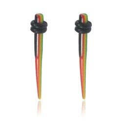 Supreme Jewelry Pair of 8 Gauge Acrylic Rasta Striped Tappers