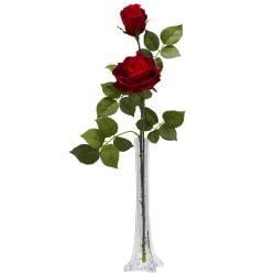 Roses / Tall Bud Vase Silk Flower Arrangement